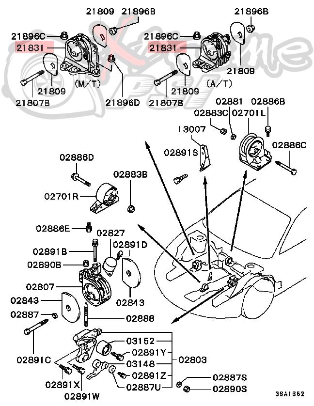 OEM Manual Transmission Motor Mount: Mitsubishi Eclipse 95-99