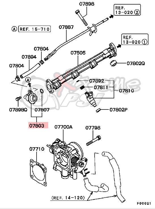 OEM Fuel Pressure Regulator : Mitsubishi Lancer EVO VIII & IX