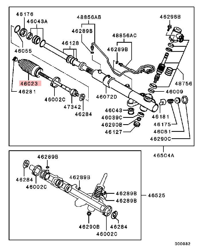 OEM Steering Gear Bellow: Mitsubishi Evolution VIII & IX 2003-2006