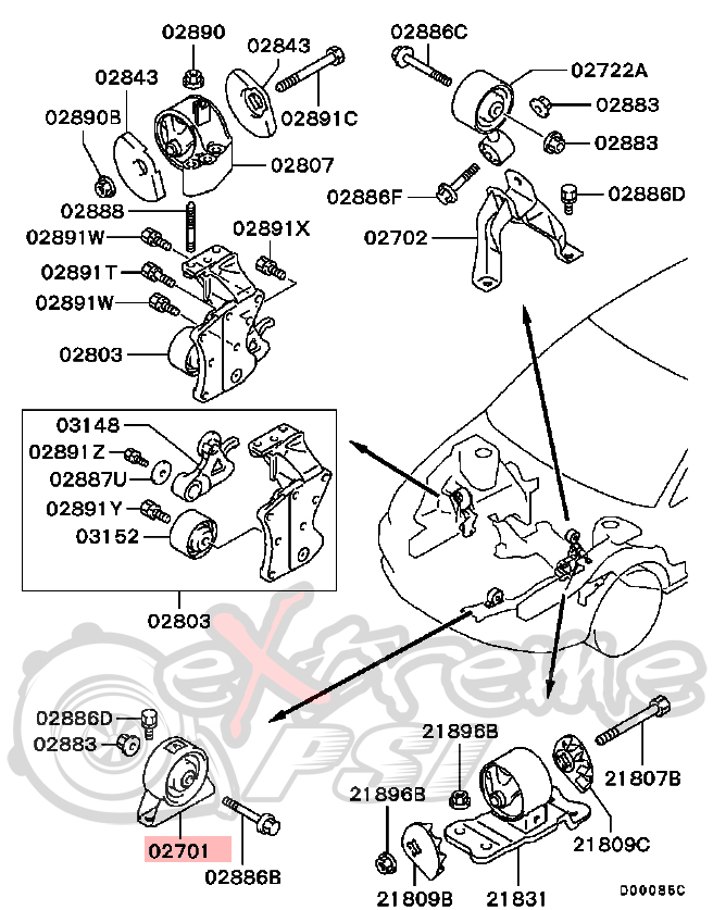 evo 8 engine diagram how to egr removal viii ix and charcoal evap extreme psi your source for in stock performance parts oem front engine mount mitsubishi lancer evo