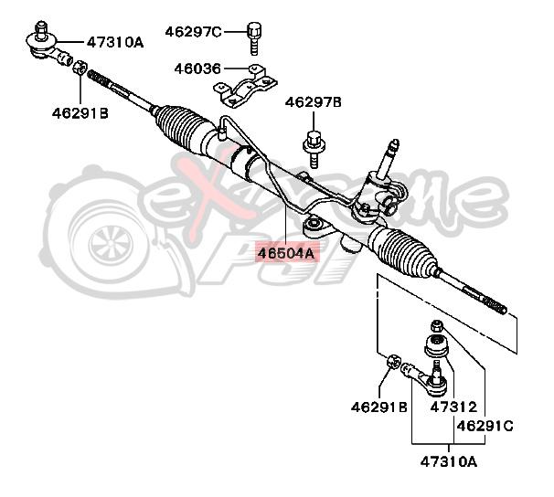 OEM Power Steering Gear Box Assembly (Steering Rack): Mitsubishi Lancer EVO VIII & IX