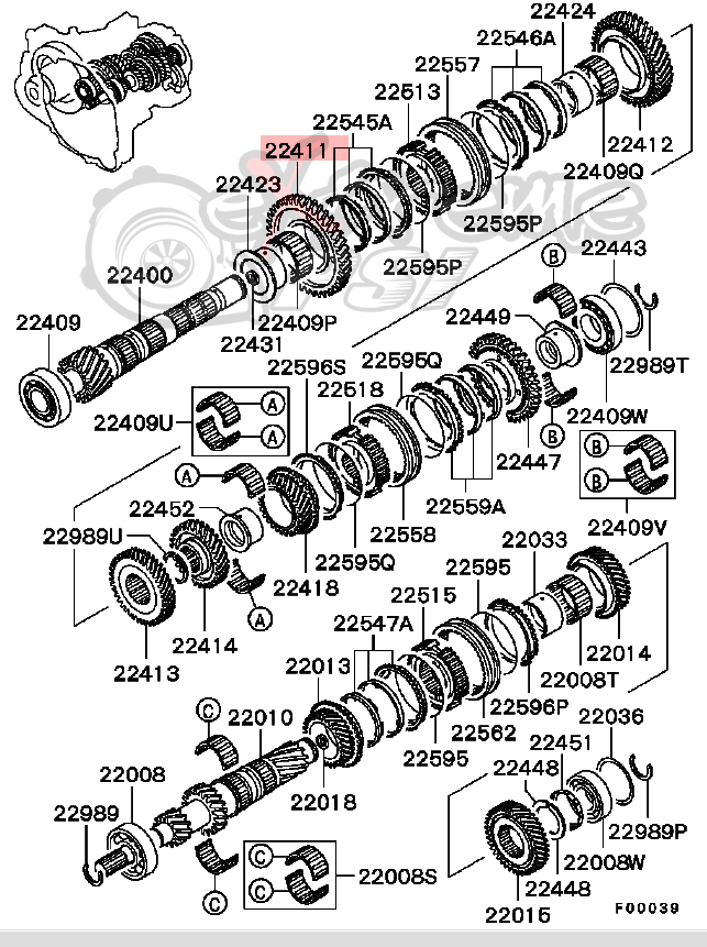extreme psi your 1 source for in stock performance parts 2003 Mitsubishi Eclipse Connector Diagram oem m t output shaft 1st speed gear 5 speed only mitsubishi evo 8 9