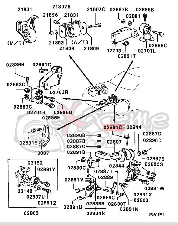 OEM Engine Side Mounting Bolt: Mitsubishi Eclipse 90-94