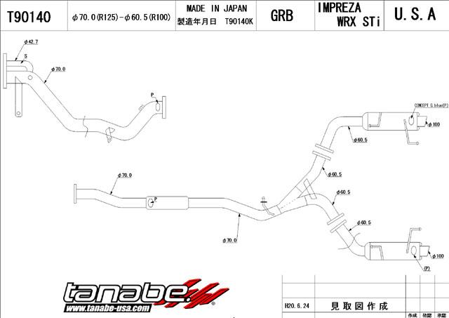 Tanabe Medallion Concept G Blue Turboback Exhaust: Subaru WRX/STI 2008+