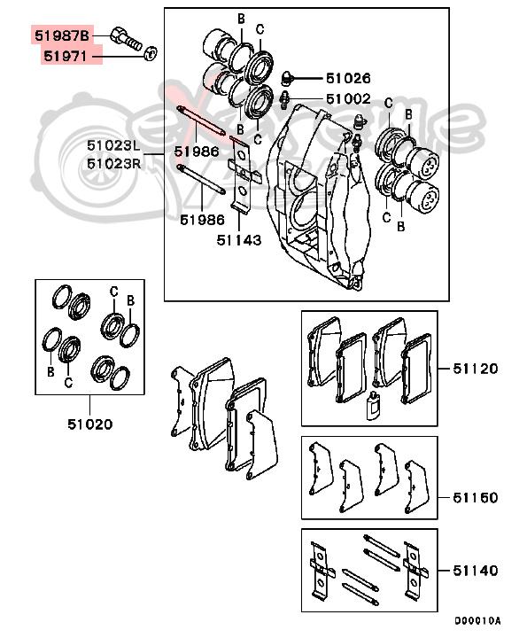 OEM Front Bolt & Washer For Brembo Caliper: Mitsubishi EVO 8/9