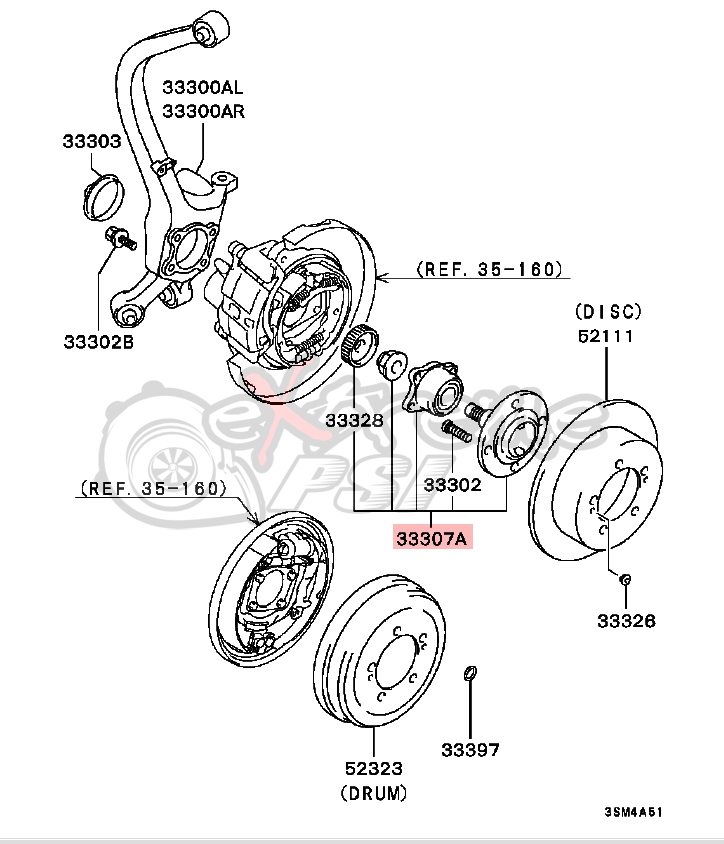 OEM Rear Wheel Hub Assembly: Mitsubishi Eclipse 95-99 FWD Only