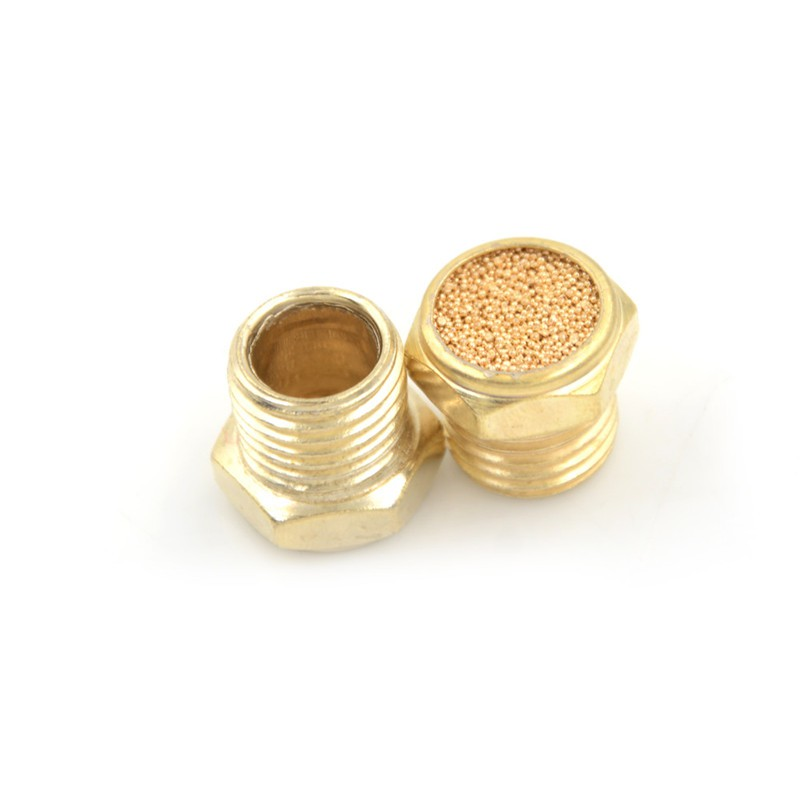 """Brass Sintered Bronze Breather Vent Flat Pneumatic Muffler Filter: 1/8"""" NPT (1)"""