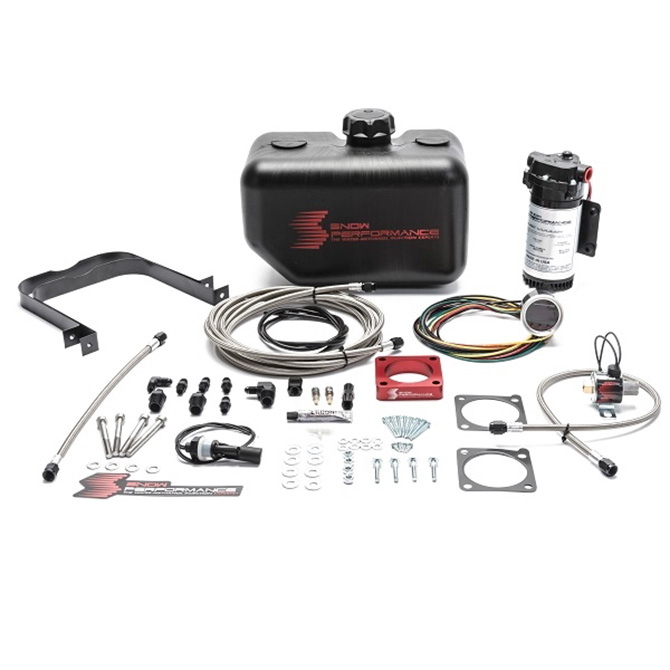 Snow Performance Stage 2 Boost Cooler 2008-2015 Mitsubishi EVO X 2.0L Water-Methanol Injection Kit (Stainless Steel Braided Line, 4AN Fittings)