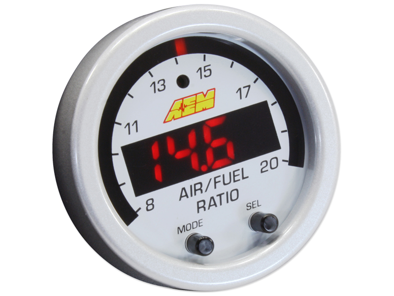 AEM X-Series Wideband UEGO AFR Sensor Controller Gauge Accessory Kit (Includes Silver Bezel & White AFR/Lambda Faceplate)