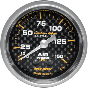 Auto Meter Carbon-Fiber Gauge : Air Pressure 0-150 psi