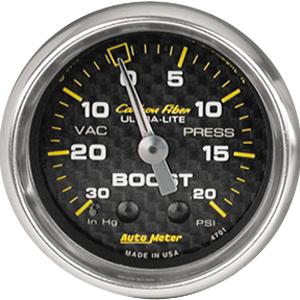 Auto Meter Carbon-Fiber Gauge : Boost / Vacuum 30 In Hg.-Vac./20 psi