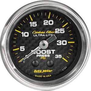 Auto Meter Carbon-Fiber Gauge : Boost 0-35 psi