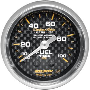 Auto Meter Carbon-Fiber Gauge : Fuel Pressure 0-100 psi