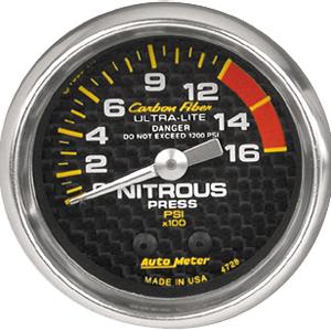 Auto Meter Carbon-Fiber Gauge : Nitrous Pressure 0-1600 psi