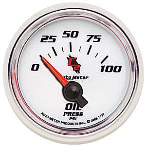 Auto Meter C2 Gauge : Oil Pressure 0-100 psi