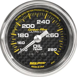 Auto Meter Carbon-Fiber Gauge : Oil Temp. 140-280 deg. F