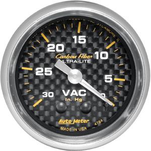 Auto Meter Carbon-Fiber Gauge : Vacuum 30 In. Hg.