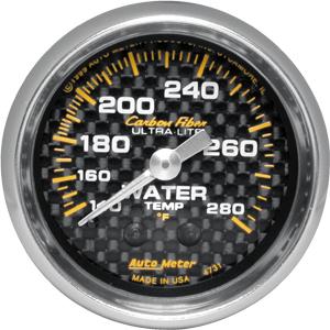 Auto Meter Carbon-Fiber Gauge : Water Temp. 140-280 deg. F