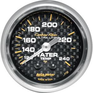 Auto Meter Carbon-Fiber Gauge : Water Temp. 120-240 deg. F