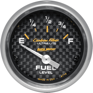 Auto Meter Carbon-Fiber Gauge : Fuel Level 73-10 ohms