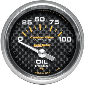 Auto Meter Carbon-Fiber Gauge : Oil Pressure 0-100 psi