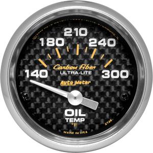 Auto Meter Carbon-Fiber Gauge : Oil Temp 140-300 deg. F