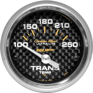 Auto Meter Carbon-Fiber Gauge : Trans. Temp 100-250 deg. F