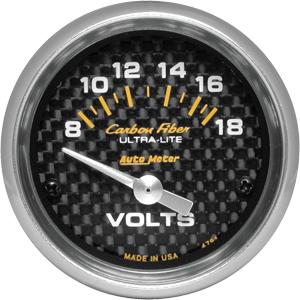 Auto Meter Carbon-Fiber Gauge : Voltmeter