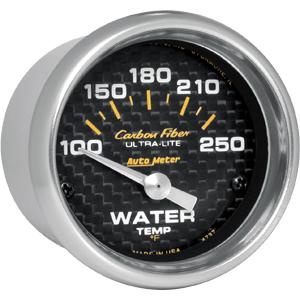 Auto Meter Carbon-Fiber Gauge : Water Temp 100-250 deg. F