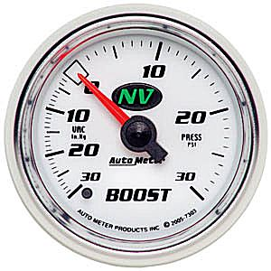 Auto Meter NV Gauge : Boost/Vacuum 30 In Hg.-Vac./30 psi