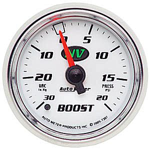 Auto Meter NV Gauge : Boost/Vacuum 30 In Hg.-Vac./20 psi