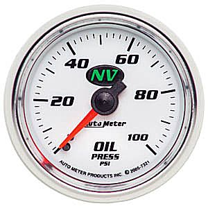 Auto Meter NV Gauge : Oil Pressure 0-100 PSI