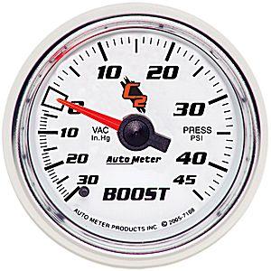 Auto Meter C2 Gauge : Boost/Vacuum 30 In Hg.-Vac./45 psi