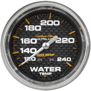 Auto Meter Carbon-Fiber Gauge : Water Temp 120-240 deg. F