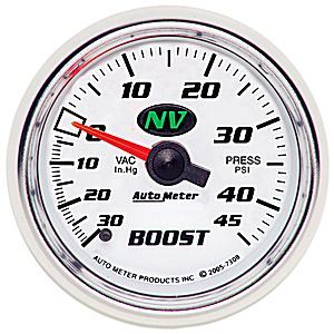 Auto Meter NV Gauge : Boost/Vacuum 30 In Hg.-Vac./45 PSI