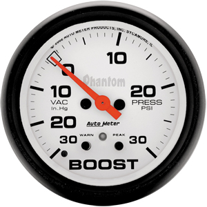 Auto Meter Phantom Gauge : Boost/Vacuum 30 In Hg.-Vac./30 PSI