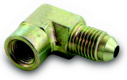 "FTP 90 degree Gauge Adapter: -04AN to 1/8"" NPT"